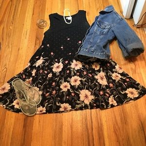 Black and Pink Floral Swing Dress